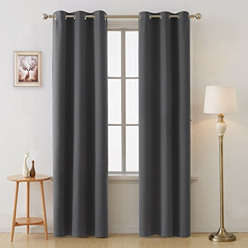 Deconovo Thermal Insulated Curtains Grommet Blackout Curtain Panel 38 Inch by 84 Inch Dark Grey  ...