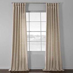 HPD Half Price Drapes SSKR-71806-108 Faux Dupioni Raw Silk Curtain, 50 X 108, Sandpiper Tan