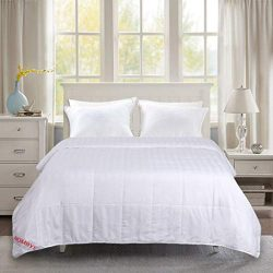 HOMBYS 100% Mulberry Silk Comforter King Size – All Season White Classic Stripe Duvet Inse ...