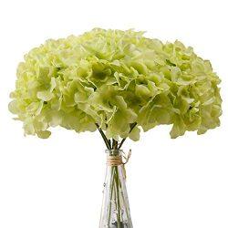 Aviviho Hydrangea Silk Flowers Green Heads Pack of 10 Full Hydrangea Flowers Artificial with Ste ...