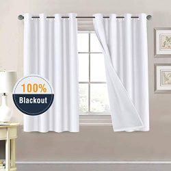H.VERSAILTEX 100% Blackout Curtains 54 inches Long White Draperies for Patio Door, Thermal Insul ...