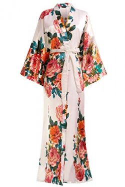 BABEYOND Kimono Robe Long Floral Bridesmaid Wedding Bachelorette Party Robe 53″ (Flower-Pink)