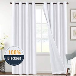 100% Blackout White Curtains for Bedroom 84 Length Faux Doupion Silk Panels for Living Room Ther ...