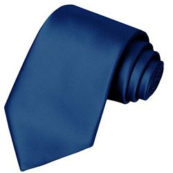 Navy Satin Tie KissTies Blue Ties Mens Necktie + Gift Box