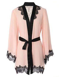 Vivilover Women's Sexy Mesh Kimono Lingerie Lace Nightgown Robe Set One Size