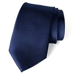 Spring Notion Men's Solid Color Satin Microfiber Tie, Skinny Navy