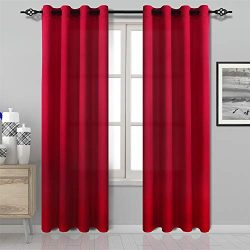 DWCN Red Curtains Bright Faux Silk Country Modern Style Draperies 8 Grommets Window Curtain Pane ...