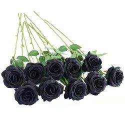FLORRALIA Artificial Silk Roses Flowers for Halloween Party Home Decorrations in Black