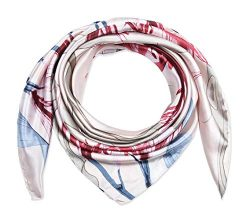 35″ Ladies Satin Square Silk Like Hair Scarves and Wraps Headscarf for Sleeping Alizarin C ...