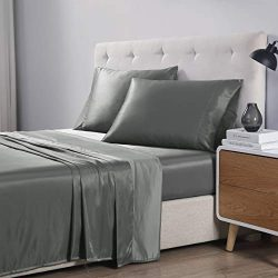 EXQ Home Twin Bed Sheets Set 3 Pcs,Microfiber Satin Grey Sheets & Pillowcase Set with Deep P ...