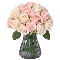 NYRZT Artificial Flowers, 24 Heads Silk Roses Bridal Wedding Bouquet Fake Flower Arrangements fo ...