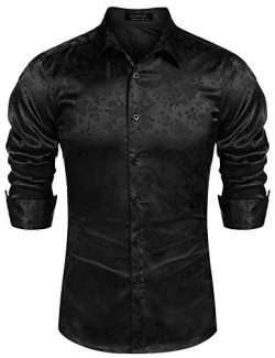 COOFANDY Men's Luxury Rose Floral Print Dress Shirt Satin Silk Long Sleeve Button Down Shirt