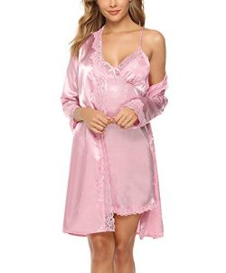 Sykooria Women's Sexy Satin Robes and Nightgown Bridesmaid Bride Party Short Kimono Robe B ...