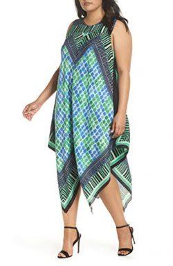 NIC+ZOE DJ Vu Handkerchief Hem Silk Blend Dress, Multi, 3X