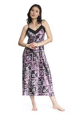 Jones New York Official Licensed Sleepwear Women's Long Satin Nightgown (Purple, Small)