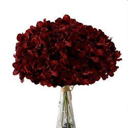 Aviviho Hydrangea Silk Flowers Burgundy Heads Pack of 10 Big Hydrangea Flowers Artificial with S ...