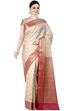 Chandrakala Women's Beige Cotton Silk Banarasi Saree,Free Size(1088BEI)