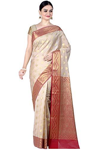 Chandrakala Women's Beige Cotton Silk Banarasi Saree,Free Size(1088BEI)