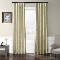 HPD Half Price Drapes EFSCH-18052B-96 Embroidered Faux Silk Taffeta Curtain, 50 X 96, Trophy Sil ...