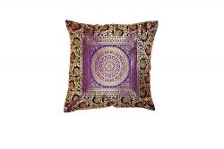 Real Online Seller Indian Design Sofa Decor Single Silk Cushion Cover 16 x 16 inch Silk Brocade  ...