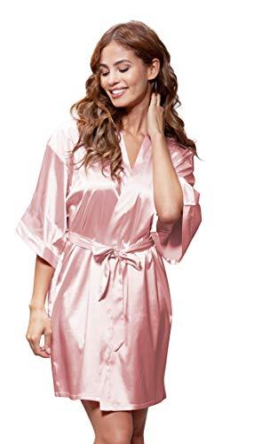 Women's Pure Color Satin Short Kimono Bridesmaids Lingerie Robes (Large, Light Pink)