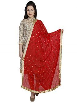 Dupatta Bazaar Woman's Embroidered Designer Red & Gold Chiffon Dupatta Stole / Scarf S ...