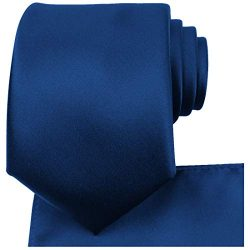 KissTies Navy Blue Tie Necktie Satin Wedding Ties + Pocket Square + Gift Box