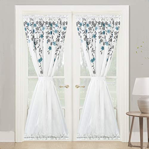 DriftAway Isabella Faux Silk Embroidered Crafted Flower Door Curtain Sidelight Rod Pocket Room D ...