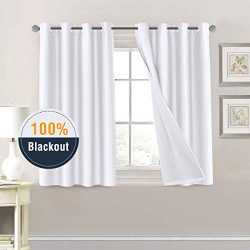 H.VERSAILTEX 100% Blackout White Curtains for Bedroom 45 Length Faux Doupion Silk Panels for Liv ...