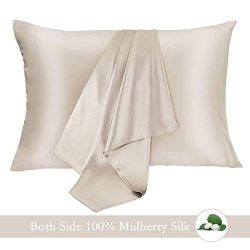 JOGJUE Silk Pillowcase for Hair and Skin 2 Pack 100% Mulberry Silk Bed Pillowcase Hypoallergenic ...