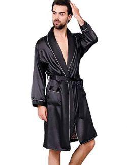 Haseil Men's Satin Kimono Robe Spring Summer Shawl Collar Sleepwear Classic Silk Bathrobes ...