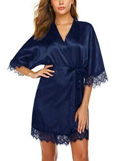 Avidlove Women Kimono Robe Short Sleeve Silk Bridal Robe Satin Nightwear Navy Blue X-Large