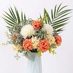 FENGRUIL Artificial Hydrangea Flowers Fake Silk Hydrangea Flower Bouquets Decoration for Wedding ...