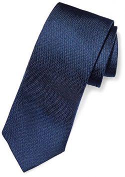BUTTONED DOWN Men's Classic Silk 3″ Necktie, Navy Texture, Extra Long