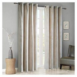 SINGINGLORY Velvet Curtains 2 Panels Set, Blackout Thermal Insulated Velour Grommet Drapes with  ...