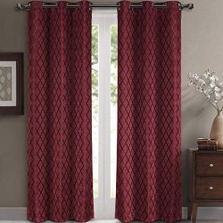 Willow Jacquard Burgundy Grommet Blackout Window Curtain Panels, Pair / Set of 2 Panels, 42× ...
