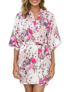 Aibrou Women's Floral Satin Robe Short Silk Bridesmaid Bathrobe Dressing Gown Wedding Kimo ...