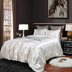 EastElegant Silk Like Duvet Cover Set 3 Pieces Bedding Duvet Cover and Pillow Shams (White, Queen)