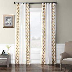 HPD Half Price Drapes EFSCH-18053A-120 Embroidered Faux Silk Taffeta Curtain, 50 X 120, Espalier ...
