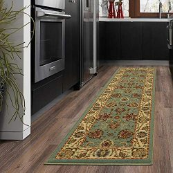 Silk Road Concepts SR-OTH2135-20X59 Collection Persian Rugs, 20″ x 59″, Seafoam Floral