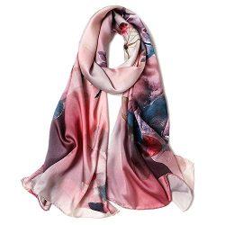 Women's 100% Mulberry Silk Scarf Floral Print Satin Long Scarf Wrap Shawl (mzyy07)