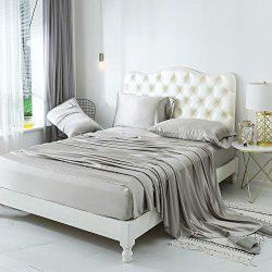 ZIMASILK 4 Pcs 100% Mulberry Silk Bed Sheet Set,All Side 19 Momme Silk (King, Silver Grey)
