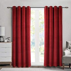 SINGINGLORY Red Velvet Curtains 2 Panels Blackout Grommet Window Drapes for Bedroom and Living R ...