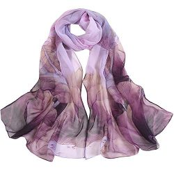 Silk Scarf-Han Shi Fashion Women Vintage Lotus Print Long Soft Wrap Shawl Wrap (Purple, L)