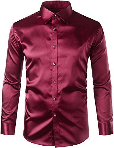 ZEROYAA Mens Regular Fit Long Sleeve Shiny Satin Silk Like Dance Prom Dress Shirt Tops Z6 Wine R ...