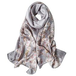 Women's Mulberry Silk Scarf Floral Print Scarves Shawls for Headscarf (Jyyd10)