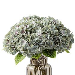 Kimura's Cabin Artificial Silk Hydrangea Flower,5 Heads Bouquet Fake Flower Home Wedding D ...