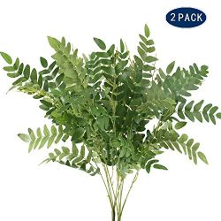 AILANDA 2 Pack Artificial Fake Greenery Plant Outdoor Faux Silk Sophora Japonica Leaf Shrubs Bus ...