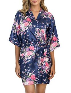 Aibrou Women's Floral Satin Robe Short Silk Bridesmaid Bathrobe Dressing Gown Wedding Kimo ...