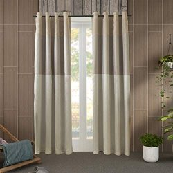 Jarl home Three-Color Stitching Blackout Curtains – Artificial Silk Blackout Window Drape  ...